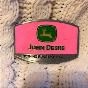 Pink John Deere belt buckle